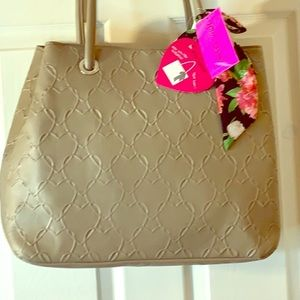 Betsey Johnson Large light beige tote bag. NWT!